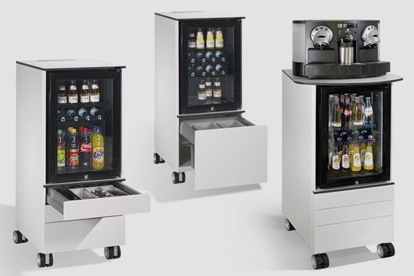 Meuble mobile avec réfrigérateur intégré caisson de bureau